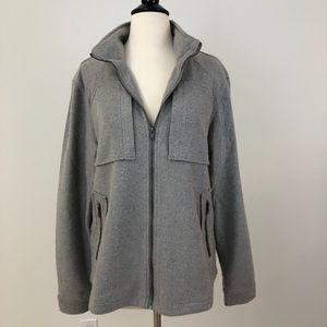 TUNELLUS Light Grey Zip Up Sweater Jacket Large